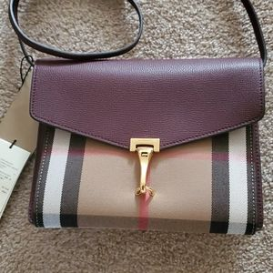 Burberry NWT small Macken check derby leather
